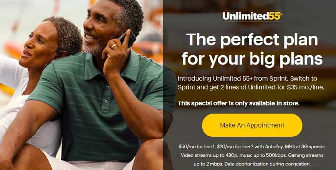 sprint unlimited 55+ Discount plan