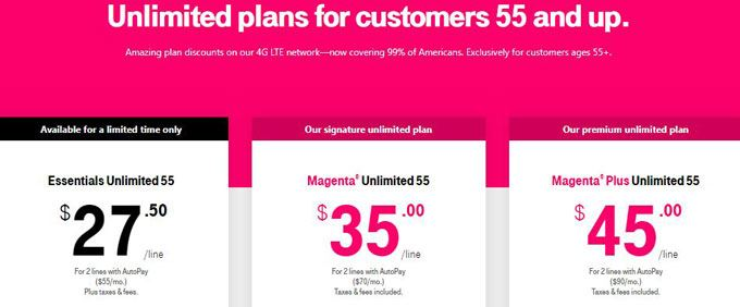 t-mobile unlimited 55+ discount plans